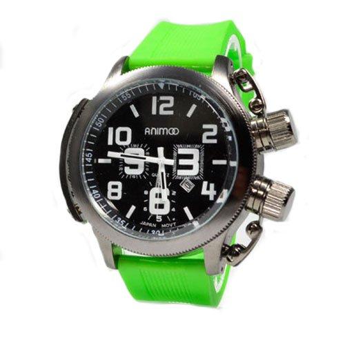 XXL Herrenuhr von Animoo in Schwarz Gruen mit Silikonarmband und Datumsanzeige Trend Fashion U boot Watch