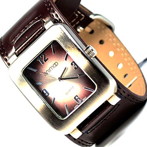 Armbanduhr Braun Silber Retro Design Edel Herren breite Uhr