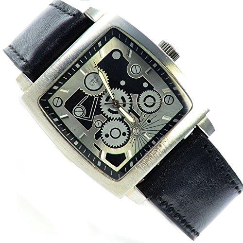 Armbanduhr Schwarz Silber Klassisches Skelett Design