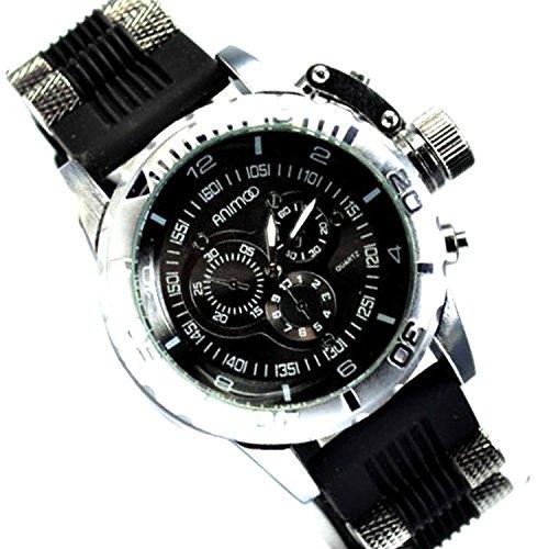 Chronograph Look Schwarz Weiss XXL Uboot Flieger Massiv Trend Uhr