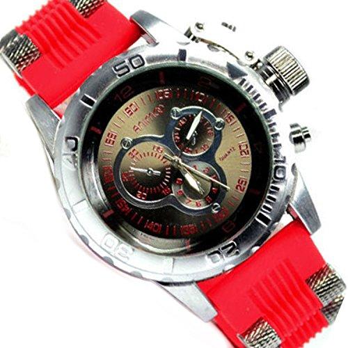 Chronograph Look Rot Silber XXL Uboot Flieger Massiv Trend Uhr