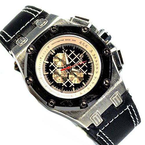 Schwarz Chronograph Gold Look mit Datumsanzeige U Boot Militaer Watch