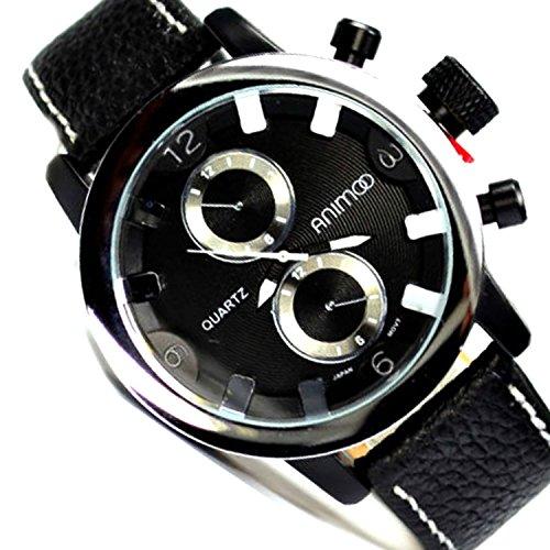 in Schwarz Silber Chronograph Look Militaer Flieger Uboot Retro Uhr