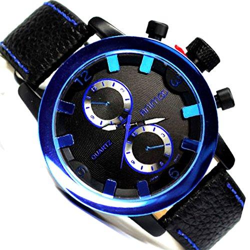 in Schwarz Blau Chronograph Look Militaer Flieger Uboot Retro Uhr