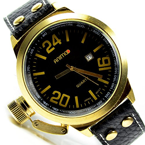 herrenuhr gold schwarz xxl leder uhr watch chrono look 258. Black Bedroom Furniture Sets. Home Design Ideas