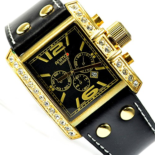 herrenuhr schwarz gold xxl leder uhr watch chrono look 244. Black Bedroom Furniture Sets. Home Design Ideas