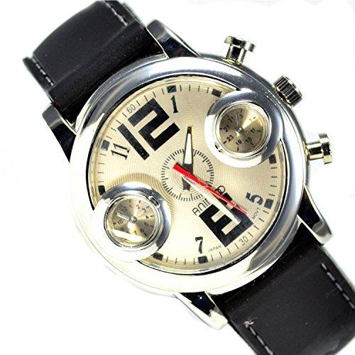 Silber Schwarz Mega Retro Design UBoot Uhr