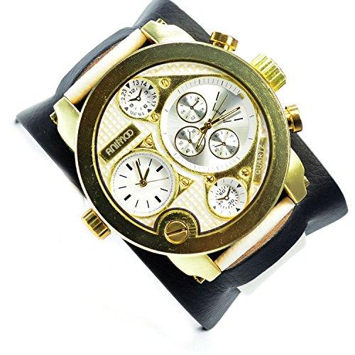 in Weiss Gold Schwarz 2 Zeit Chronograph Look 58 mm Power XXL Uhr