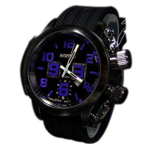 Silikonuhr Herrenuhr Schwarz Blau Herrenarmbanduhr Silicone Trend XXL Watch
