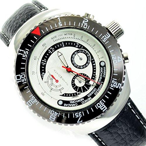 Klassische Flieger Armbanduhr Schwarz Silber mit Chrono Look al 561