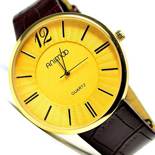Slim Klassische Armbanduhr Braun Gold sehr Edel Elegant