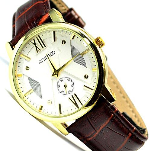 Slim Klassische Armbanduhr Chronograph Braun Gold sehr Edel Elegant