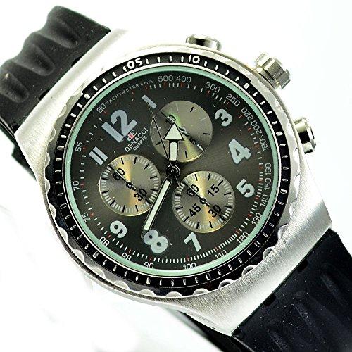 Power Herren Silikon Armbanduhr in Schwarz Anthrazit Chronograph Look al 528