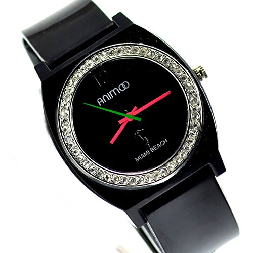 Silikon Armbanduhr in Schwarz Silber mit Strass Unisex Mode Trend Fashion Uhr 46