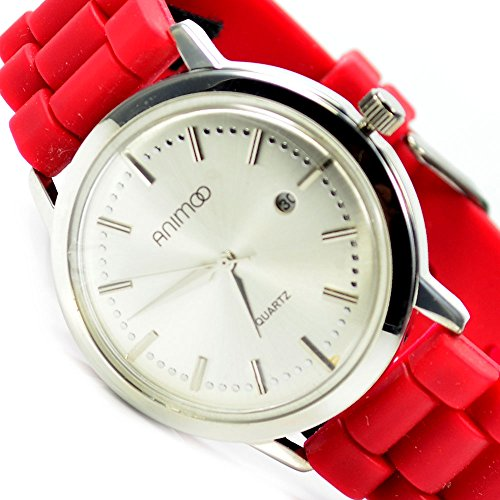 Slim Unisex Armbanduhr Datumsanzeige Rot Silber Edel Elegant Silikonband AL 577