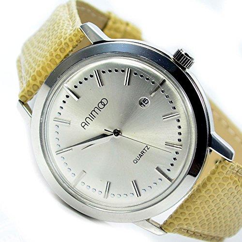 Slim Unisex Armbanduhr Datumsanzeige Khaki Silber Edel Elegant AL 577