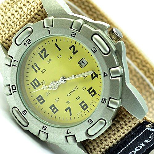 XXL Unisex Sportuhr Armbanduhr Beige mit Klettverschluss Datumsanzeige Uhr al 592