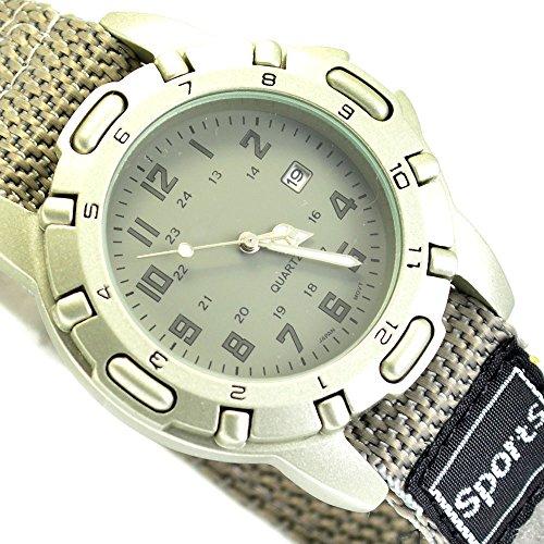 XXL Unisex Sportuhr Armbanduhr Grau mit Klettverschluss Datumsanzeige al 592