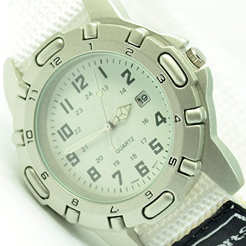 XXL Unisex Sportuhr Armbanduhr Weiss mit Klettverschluss Datumsanzeige Uhr al 592