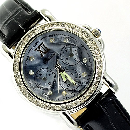 Wunderschoene Elegante in Silber Schwarz Strasssteine al 520
