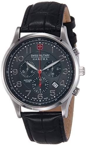 Swiss Military Hanowa Herren-Armbanduhr XL Analog Quarz Leder 06-418704007