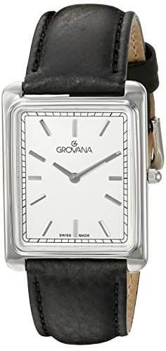 GROVANA 10401532 Menschweizer Uhr Armbanduhr Analog Leder schwarz