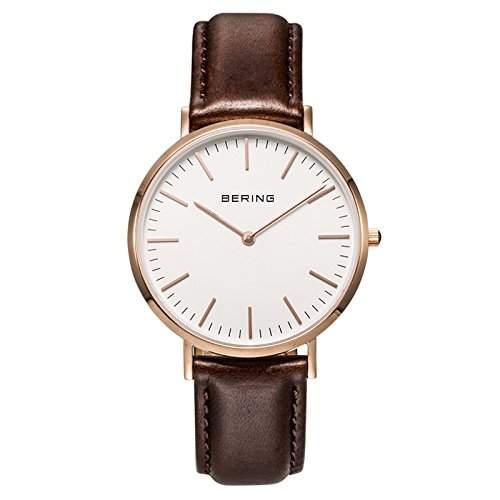 Bering Time Herren-Armbanduhr XL Analog Quarz Leder 13738-564