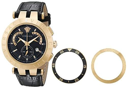 Versace Herren 23C80D008 S009 V-Race Chrono Black-Dial Rose-Gold Plated Genuine Leder Uhr