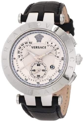 Versace Herren 23C99D002 S009 V-Race Chrono 3 austauschbare Top Rings Schwarz Echtes Leder Uhr