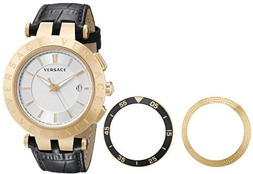 Versace Herren 23Q80D002 S009 V-Race 3 Haende Rose-Gold Plated 3-Austauschbare Ringe Leder Uhr