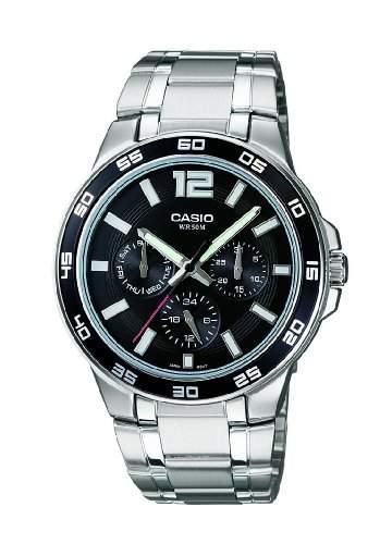 Casio Herren-Armbanduhr Chronograph edelstahl Silber MTP-1300D-1AVER