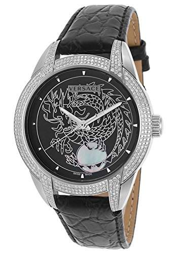 Versace Herren-Armbanduhr 43mm Armband Leder Schwarz Schweizer Automatik Analog 25A391D912S009