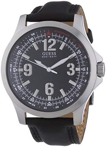 Guess Herren-Armbanduhr XL Analog Leder W65017G1