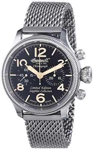 Ingersoll Herren-Armbanduhr Wells Fargo 111 Chronograph mechanisch Handaufzug Edelstahl IN4610BKMB
