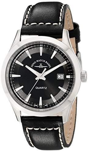 Zeno Herren 42mm Schwarz Leder Armband Edelstahl Gehäuse Datum Uhr 6662-515Q-G1
