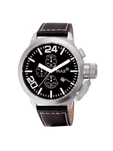 MAX XL Herren-Armbanduhr Analog Leder Schwarz 5-max063