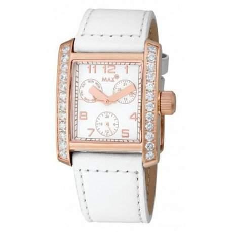 MAX XL Herren-Armbanduhr Analog Leder Schwarz 5-max447