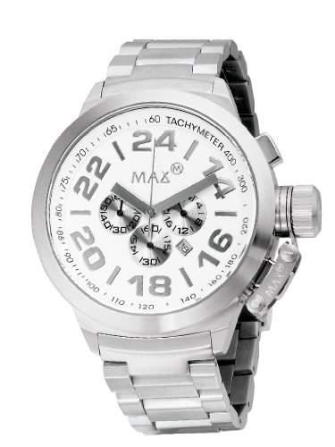 Max XL Mens Quarz-Uhr mit weissem Zifferblatt Analog-Anzeige und Silber-Edelstahl-Armband 5-max459