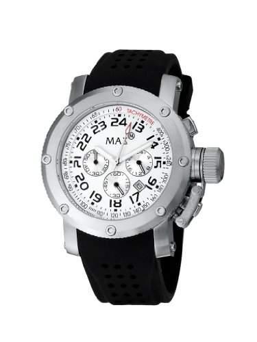Max XL Mens Quarz-Uhr mit weissem Zifferblatt Analog-Anzeige und schwarzem Kautschukband max463-5