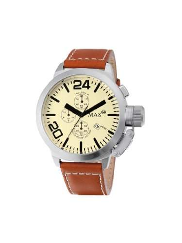 MAX XL, 5-max501 Herren-Armbanduhr Analog Leder Braun