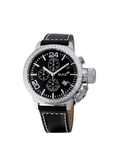 MAX XL Herren-Armbanduhr Analog Leder Schwarz 5-max503