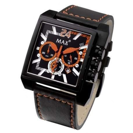 MAX XL Herren-Armbanduhr Analog Leder Schwarz 5-max526