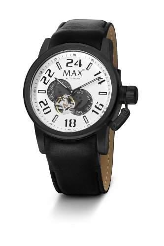 Max XL MenAutomatik-Uhr mit weissem Zifferblatt Analog-Anzeige und schwarzem Lederarmband 5-max528