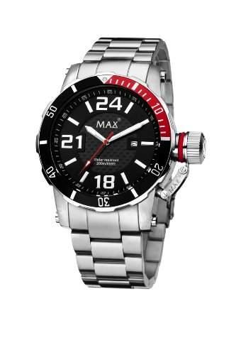 MenMax XL Herren Quarzuhr mit schwarzem Zifferblatt Analog-Anzeige und Silber-Edelstahl-Armband 5-max543