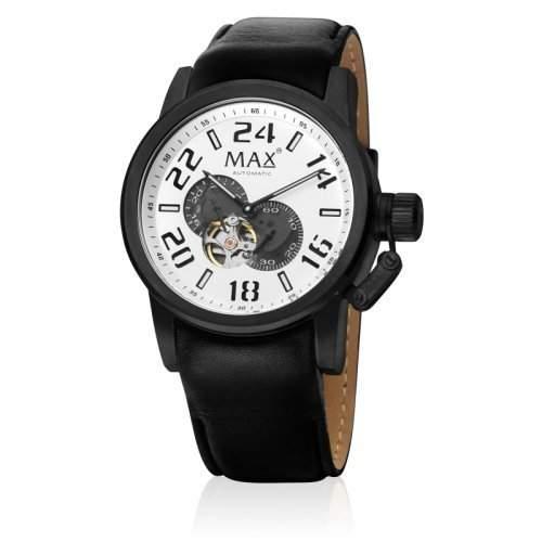 Max XL MenAutomatik-Uhr mit schwarzem Zifferblatt Analog-Anzeige und schwarzem Lederarmband 5-max528