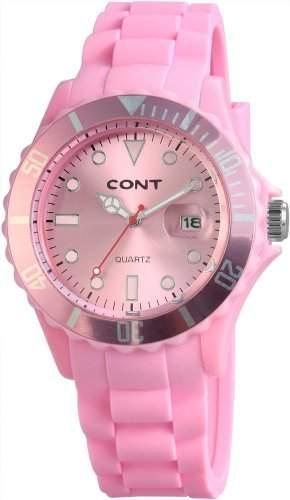 Damen Freizeit Modeuhr Silikonarmband Pink von CONT