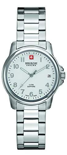 Swiss Military Swiss Soldier Lady Prime Damen Quarzuhr mit Silber Zifferblatt Analog-Anzeige und Silber Edelstahl Armband 6-723104001