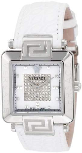 Versace Damen 88Q99SD97F S001 Reve Carrè Mother-Of-Pearl Echt Alligator Band 69-Diamond Watch
