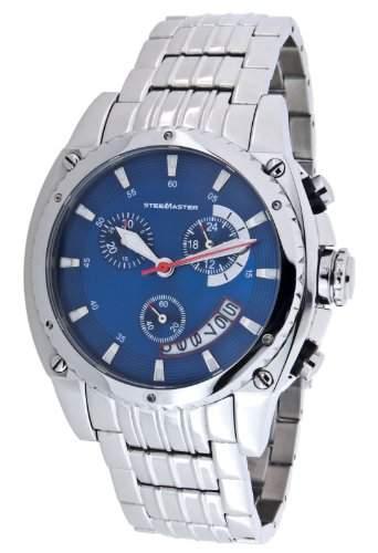 Steel Master Herren-Armbanduhr Chronograph Quarz Analog Edelstahl - CAP1103198B