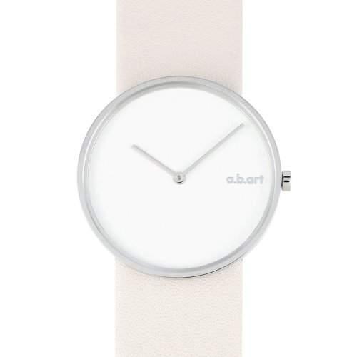 abart WomenQuarz-Uhr mit weissem Zifferblatt Analog-Anzeige und weisse Lederband D101